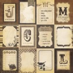 Бумага для скрапбукинга 30*30 см DOCUMENTED FLASH CARDS