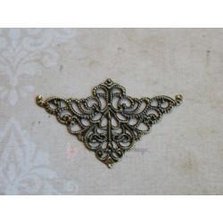 Металлический ажурный треугольник, бронза, 38*52мм, 1шт.