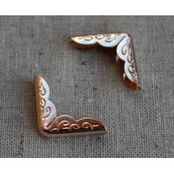 Уголки металлические с ажурным рисунком, розовое золото, 30*21см, 1шт.