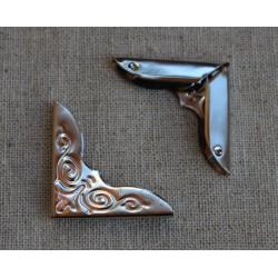 Уголки металлические с ажурным рисунком, серебро, 44*31мм, 1шт.