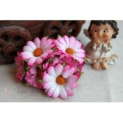 Хризантема, цвет розовый с белой серединкой, 4.5см, 1шт.