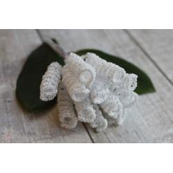 Тычинки-спираль на стебле, цвет белый, 1*4 см, 1спираль