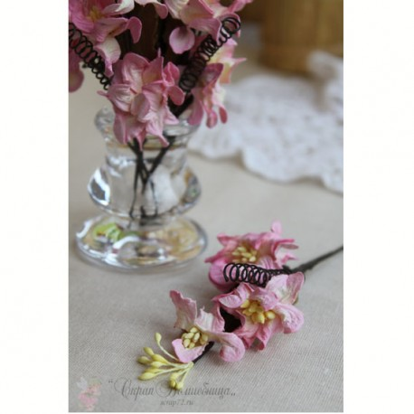 Цветы на веточке, розовые, 1 шт.