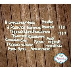 """Чипборд """"Серия """"Фразы"""". Комплект №6. Первый год"""", 8мм"""