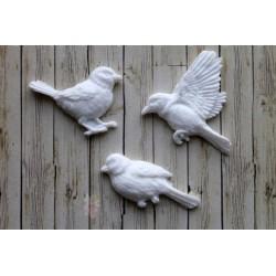 "Набор пластиковыхая фигурок ""Птички"", 37*35мм, 35*25мм, 40*20мм, 3шт"
