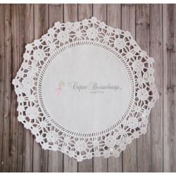 Салфетка ажурная с цветочками, цвет белый, 16.5см, 1шт