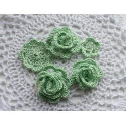 Набор вязаных цветов, зеленый, 5см,4см,4м,4см,3см