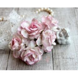Дикая роза, цвет белый с розовой окантовкой, 4см, 1шт