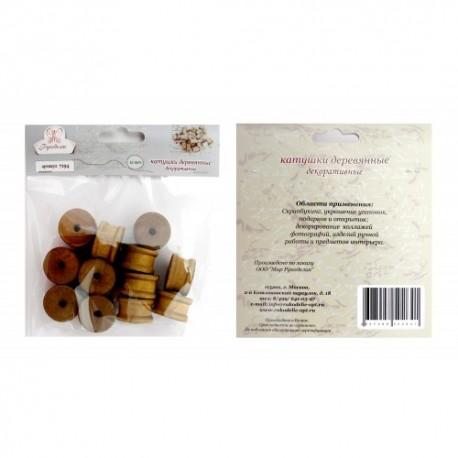 Катушка деревянныая декоративная, 1.4*2.2см, 1 шт., Рукоделие, 7194