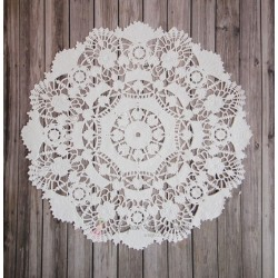 Салфетка ажурная с цветочками, цвет белый, 22см, 1шт.