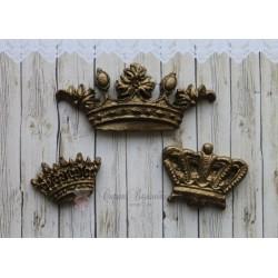 "Набор пластиковых фигурок ""Короны"", 57*25мм, 30*23мм, 27*17мм, цвет бронза, 3шт."