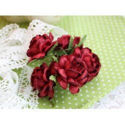 Чайная роза, цвет бордовый, 4см, 1шт