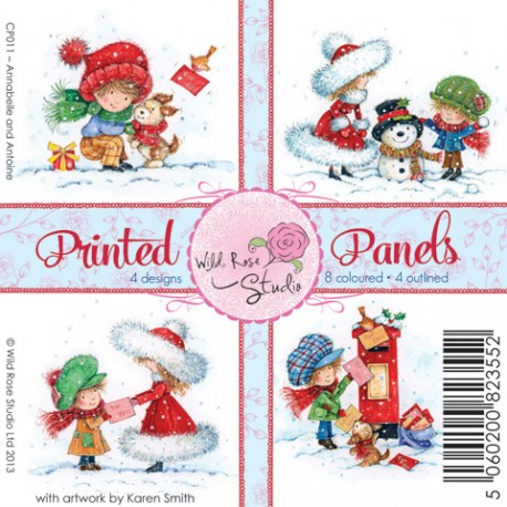 "Карточки ""Annabelle and Antoine"", 4 дизайна, 8 цветных и 4 для раскрашивания, 10*10см"