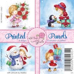 """Карточки """"Christmas Girl Panels"""", 4 дизайна, 8 цветных и 4 для раскрашивания, 10*10см"""