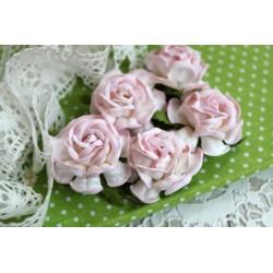 Чайная роза, цвет белый с нежно-розовой окантовкой, 4см, 1шт