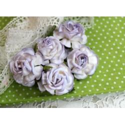 Чайная роза, цвет белый с сиреневой окантовкой, 4см, 1шт