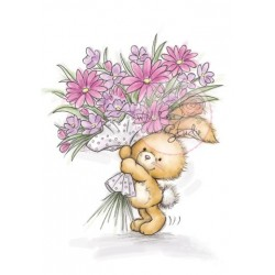 "Штамп прозрачный ""Bunny with Flowers"", 8*7см"