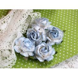 Чайная роза, цвет белый с голубой окантовкой, 4см, 1шт
