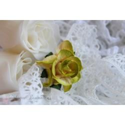 Кудрявые розы, желтые с салатовой окантовкой, 3.75см, 1шт.