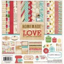 РАСПРОДАЖА!!! Набор бумаги 30*30 см 12 листов и 1 лист со стикерами Homemade with Love