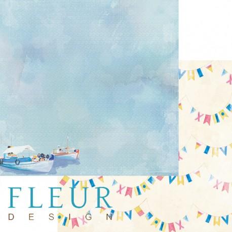 """Лист бумаги для скрапбукинга """"Морской пейзаж"""", коллекция """"Морская прогулка"""", 30х30, плотность 190 гр"""