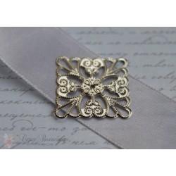 Металлическое украшение Резной квадрат, 24мм, цвет серебро