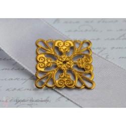 Металлическое украшение Резной квадрат, 24мм, цвет золото
