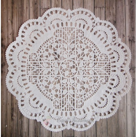 Салфетка ажурная с листочками, цвет белый, 27см