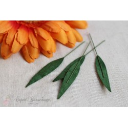 Листочки Капельки,  цвет зеленый, 0.8*4см, 1шт.
