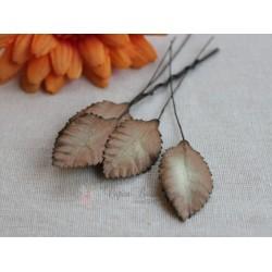 Листочки средние, цвет коричневый, 3.5см, 10шт.