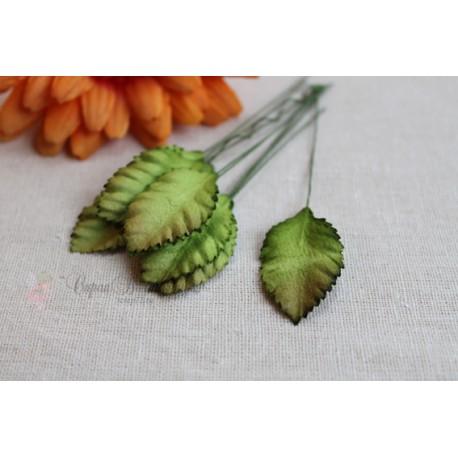 Листочки средние, цвет зеленый с бырым кончиком, 3,5см, 10шт.