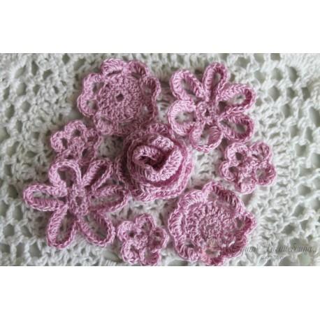 Набор вязанных цветочков,цвет розовый,25мм,35мм,40мм,45мм