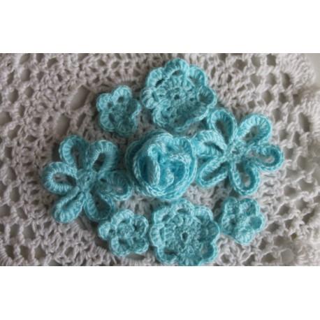 Набор вязанных цветочков,цвет бирюзовый,25мм,35мм,40мм,45мм