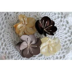 Набор тканевых цветочков, коричневые оттенки, 50 мм, 4шт.