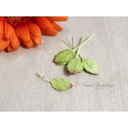 Листочки розы миниатюрные, салатовые с розовым кончиком, 1,5см, 10шт.