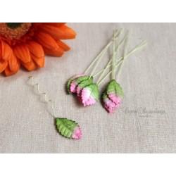 Листочки розы маленькие, с переходом цвета зеленый-розовый, 2см, 10шт.