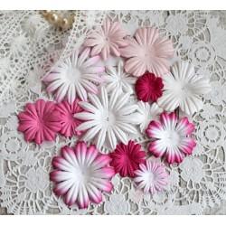 Набор цветочков, розовые тона, от 5см до 2см, 14шт.