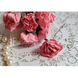 Роза с глиттером, цвет розовый, 3,5см, 1цветок