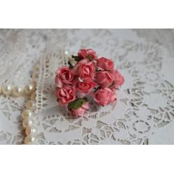 Букетик роз 1,5см, цвет розовый, 12цветочков