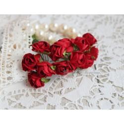 Букетик роз 1,5см, цвет красный, 12цветочков