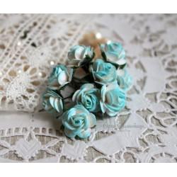Роза, цвет белый с бирюзой, 15 мм, 1 шт.