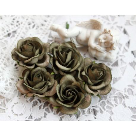 Роза Шпалера, цвет белый с бирюзой, 35мм, 1цветок