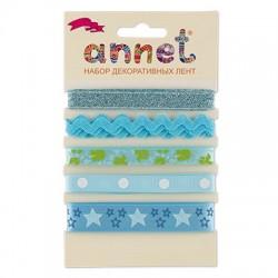 "Набор декоративных лент ""Annet"", цвет голубой, 5 шт по 1м."