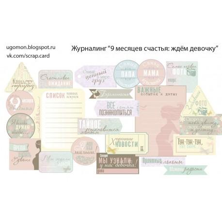 """Карточки """"9 мес счастья (девочка)"""", А4, 230гр"""