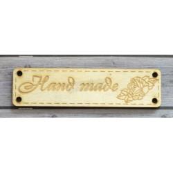 "Деревянный чипборд шильдик ""Handmade"", 1 шт., 64х17 мм"