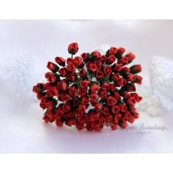 Розы в бутонах, 4мм, цвет красный, 1шт.