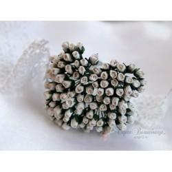 Розы в бутонах, 4мм, цвет белый, 1шт.