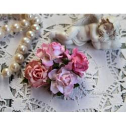Розы коттеджные, оттенки розового, букет из 4 розочек разного цвета