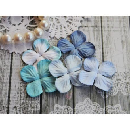 Набор цветов гортензий Голубой микс, 25мм, 5 цветочков