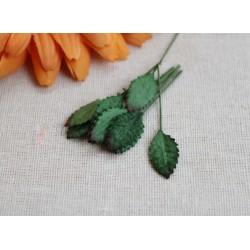 Листочки миниатюрные, цвет зеленый, 1.5см, 10шт.